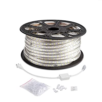LE 164ft/50m Flexible LED Light Strip, 3000 Units SMD 5050 LED, 6000K Daylight White, 720lm/m, 110-120V AC, Waterproof IP65, Accessories Included, LED Tape, Rope Lights, Christmas Holiday Decoration