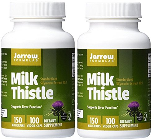 Jarrow Formulas Milk Thistle, Promotes Liver Health, 150 mg Caps, 100 Veggie Capsules (Pack of 2)
