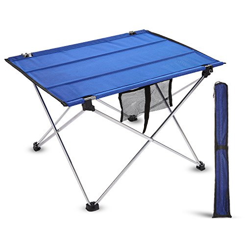 outcamer portable camping picnic tables outdoor folding roll up table in a bag blue l. Black Bedroom Furniture Sets. Home Design Ideas