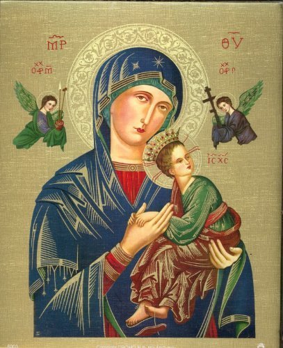 OUR LADY OF PERPETUAL HELP 13' X 17' LINEN PAPER PRINT FROM ITALY Religious Prints VI1436