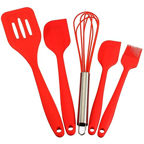 BakeWarePlus 5 Pcs/set Silicone Turner Spatula Basting Brush Whisk Kitchen Baking Utensils