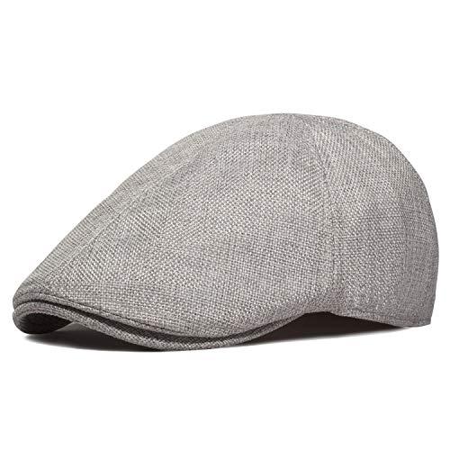 WETOO Mens Cotton Linen Flat Cap Cabbie Hat Breathable Newsboy Cap Gatsby Ivy Irish Hunting Hat