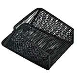 Ozzptuu Magnetic Sturdy Metal Mesh Pencil Holder Storage Basket Organizer for Whiteboard/Refrigerator/Magnetic Surface (Black)