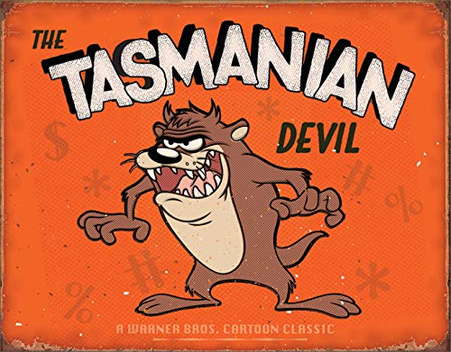 (Desperate Enterprises Tasmanian Devil Tin Sign, 16