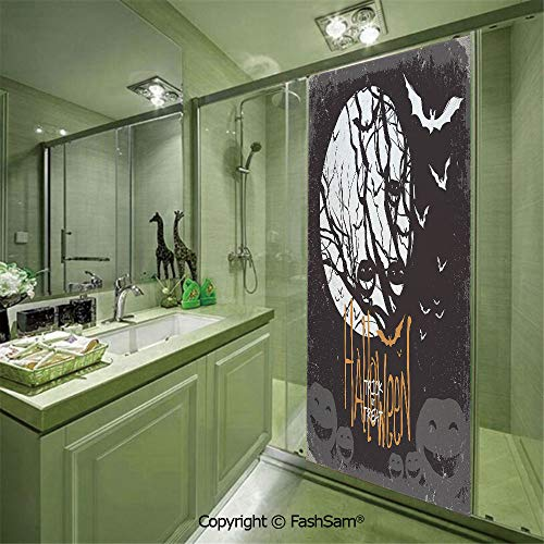 PUTIEN Glass Film No Glue Halloween Themed Image with Full Moon and Jack o Lanterns on a Tree Decorative for Bedroom Static Decorative Privacy(W23.6xL47.2) -