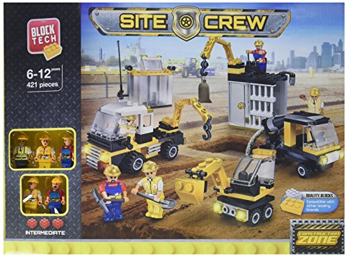 BLOCK TECH SITE CREW Plastic Construction Block Set 421 Pieces