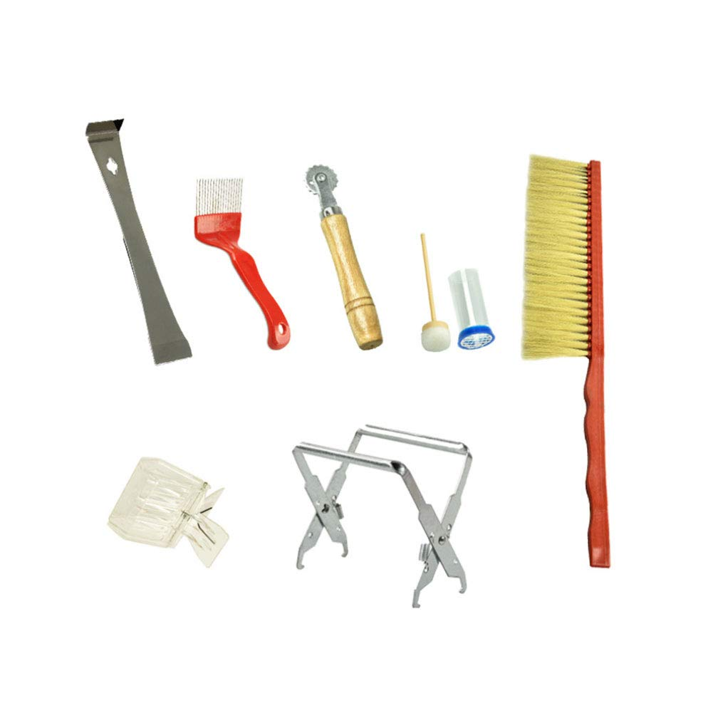 7Pcs Beekeeping Supplies Kit Bee Hive Beekeeper Tool with Bee Brush Uncapping Fork Queen Catcher Hive Frame Holder and More Beekeeping Equipment