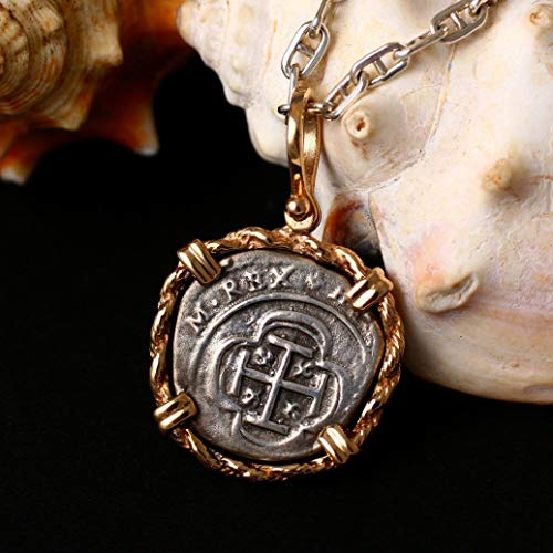 Coin from Genuine 100% Atocha Silver Shipwreck Historical Spanish Replica Coin Pendant - Rope Chain Border - Available in 14kt Gold or 925 Sterling Silver Frame - Includes Certificate of Authenticity ()