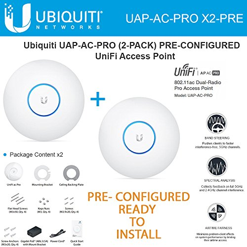 Ubiquiti Unifi UAP-AC-PRO 2-PACK PRE-CONFIGURED Dual-Radio Pro Access Point by Ubiquiti Networks