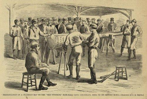 Photo: Present, champion bat, Red Stocking, Cincinnati, OH, 1869 . Size: 8x10 (approximately) (Frame Reds Photo Cincinnati)