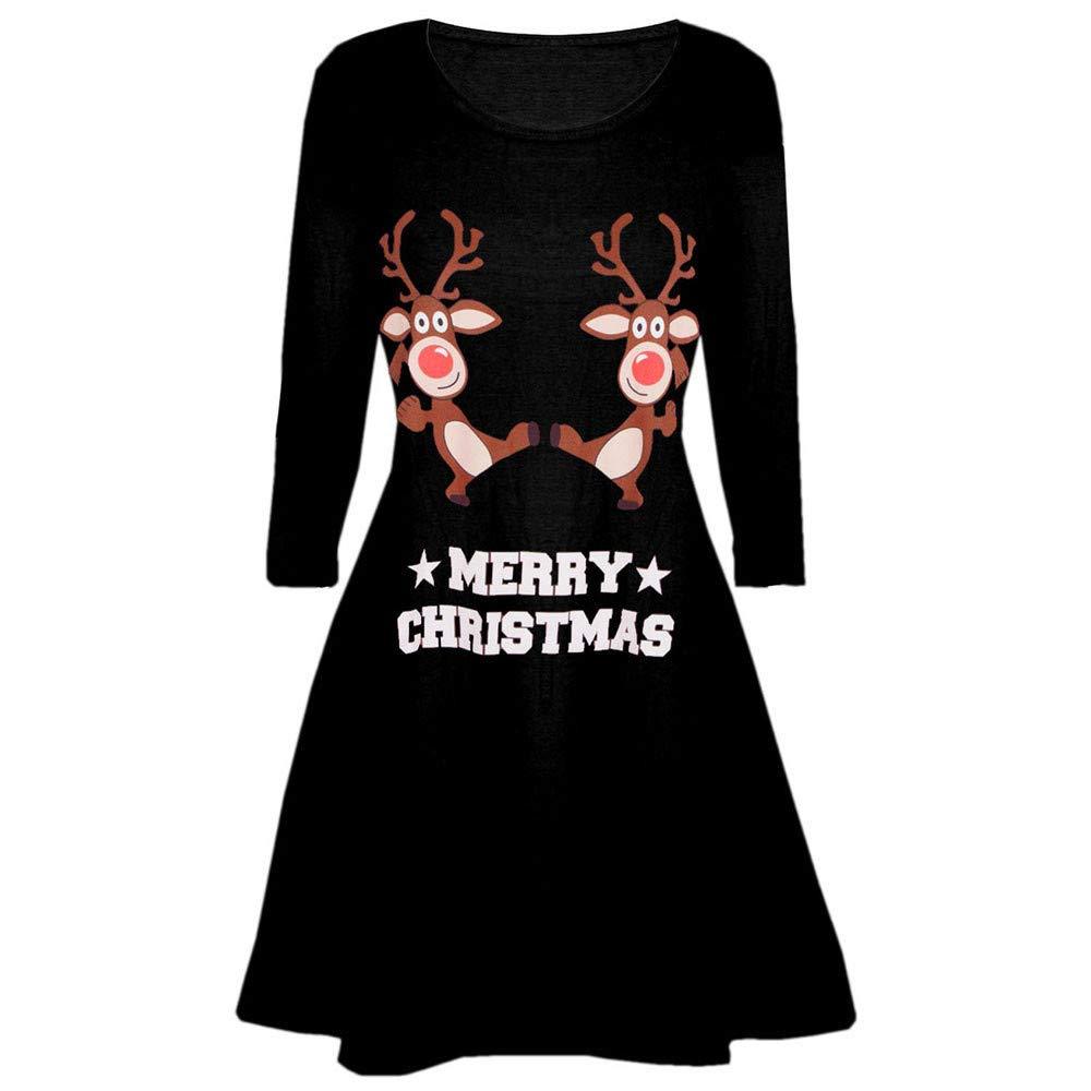 Allence Frauen Weihnachten Langarm A Line Kleid Printed Party Ausgestelltes Swing-Kleid