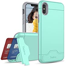 iPhone X Case, Teelevo [Card Slot Holder] Dual Layer Shock Absorbent Wallet Case with Credit Card Holder and Kickstand [Heavy Duty Protection] for Apple iPhone X (2017) - Mint Green