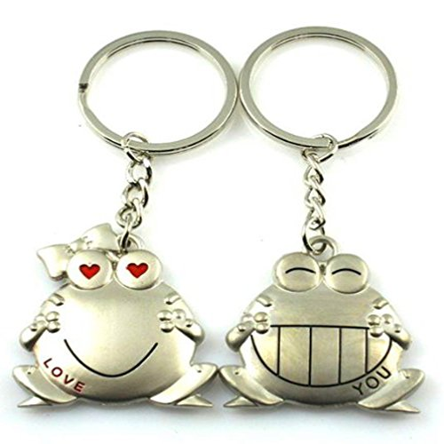 4EVER Romantic Amusing Stainless Alloy Metal Silver Happy Smiling Animal Frog Couple Keychain with Gift Box Sweetheart Pendant Salmon Lovers Key Ring Key Chain Best for Valentine¡¯s Day Wedding Anniversary (A Pair) (Metal Keychain Frog)