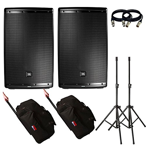 JBL EON615 15-Inch Two-Way Multipurpose Self-Powered Sound Reinforcement. With Free Gator Cases, Stands and 2 XLR Cables. ()