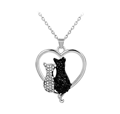 Encantadora pareja gato colgante animal encantos collar, circón doble gato colgante collar: Amazon.es: Joyería