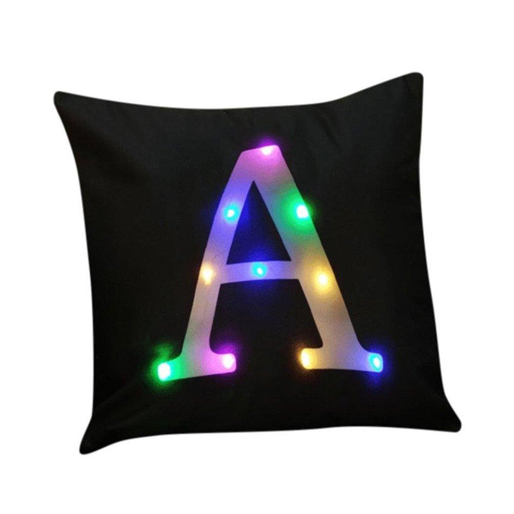 Taie d'oreiller à LED, Stillshine D'oreiller Tapis Coussin Voiture Décoré Peluche Taie D'oreiller Canapé-lit 45 x 45 cm Série de L'alphabet de Noël (A) Taie d' oreiller à LED
