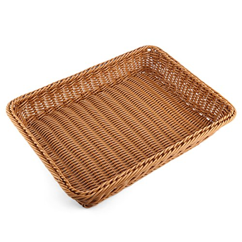 Rectangular Bread Tray - Bread Basket, Yamix Rectangle Imitation Rattan Bread Basket ,Food Serving Baskets,Restaurant Serving/Diplay Baskets For Fruit Food Vegetables - Dark Brown
