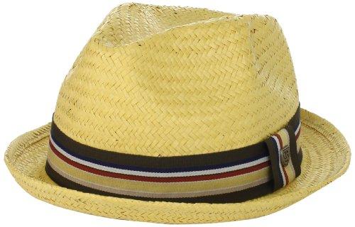 [Brixton Men's Castor Straw Fedora Hat, Tan, L] (Sailor Straw Hat)