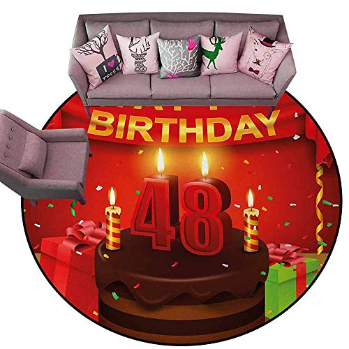 Print Floor Mats Bedroom Carpet 48th Birthday,Presents and Chocolate Cake with Candles Party Flag Artsy Design Print,Red Brown Lime Diameter 60