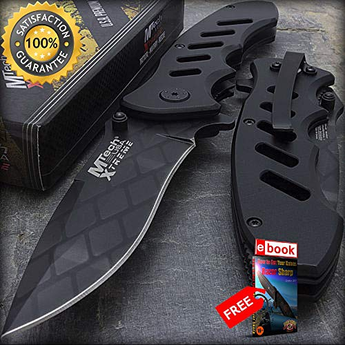10 x 8.75'' MTECH USA BLACK CHAINLINK TACTICAL FOLDING POCKET KNIFE Wholesale Lot Combat Tactical Knife + eBOOK by Moon Knives