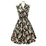 DressLily Vintage Lapel Floral Print Belt A-line Women Dress,Black,M offers