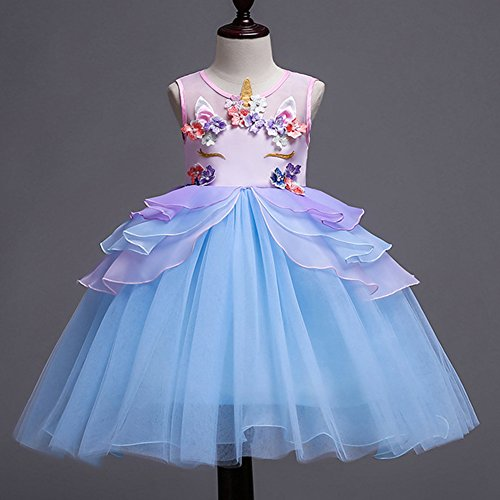 Kids Girls Unicorn Costume Cosplay Party Fancy Dress Up