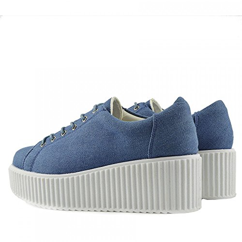 Sole Shoes Footwear Up Lace Womens Dino Kick Chunky Skater Trainers Platform Denim aIBqcS