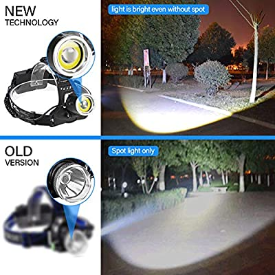 Rechargeable Headlamp, LED Flashlight, T6+COB Board Flood Light, 12000 Lumen Waterproof head lamp, Adjustable for Kids and Adults, Hardhats Light for Running Camping