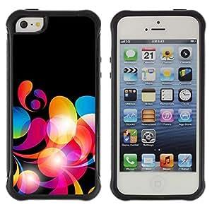 Suave TPU Caso Carcasa de Caucho Funda para Apple Iphone 5 / 5S / Neon Colors Wallpaper Random Pattern Red / STRONG