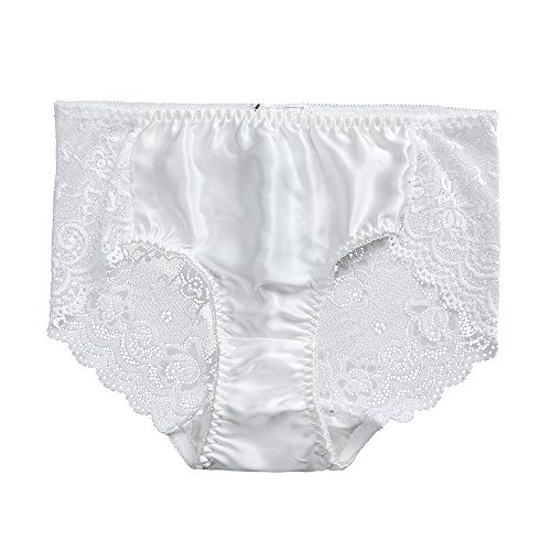LilySilk Natural Silk Panties for Women Lace Full Coverage Ultra Soft Ladies Underwear 1pc Lingerie Stretch Comfortable White X-Large