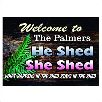 Amazon com: Anchor Graphix Personalized He Shed She Shed