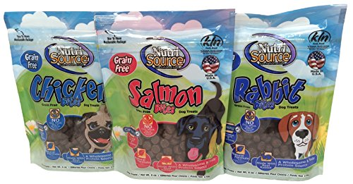 NutriSource Grain-Free Soft Bites 3 Flavor Treat Bundle, Rabbit, Salmon, Chicken Soft Salmon