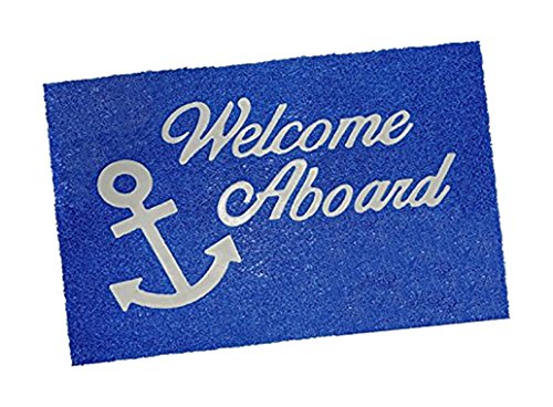 Lalizas PVC Welcome Mat, 15.7 x 23.6-Inch, Blue with golden - Mat Welcome Aboard