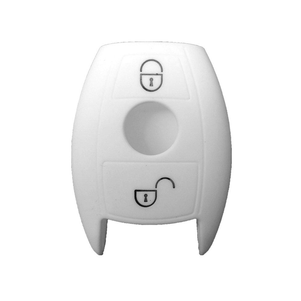 Nicky Negro Funda de Silicona para Mercedes Benz Smart 3 Botones Llave Cubierta de Control Remoto Autom/ático
