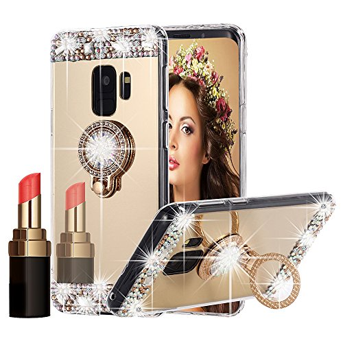 (Galaxy S9 Case Bling, Miniko(TM) Sparkly Slim TPU Mirror Makeup Bling Rhinestone Diamond Back Case Cover with Detachable 360 Degree Ring Holder Stand for Samsung Galaxy S9)