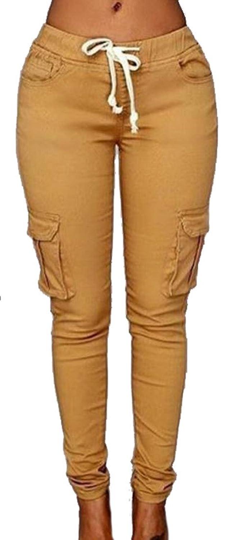 Papijam Women's Casual Drawstring Stretch Skinny Cargo Jogger Pants
