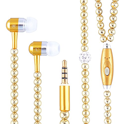 New Fashion Women Girl Rhinestone Jewelry Design Pearl Necklace Earphones,Super Bass HIFI Wired Earbuds Headphones with Mic Stereo Sound Music Earpiece for IOS and Android Smartphone (gold) (Rhinestone Headphones)