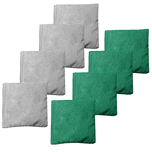 Weather Resistant Cornhole Bean Bags Set of 8 - Regulation Size & Weight - Green & Gray