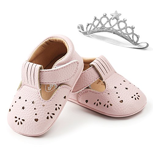 LIVEBOX Unisex Baby Premium Soft Sole Infant Toddler Prewalker Anti-Slip Dress Crib Shoes with Free Baby Headband for Attend Wedding Birthday Party Events (Pink, M)