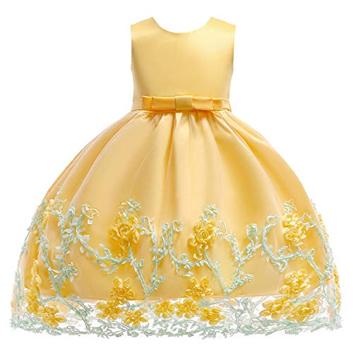 Party Wedding Dresses for Girls Sleeveless Bow Tie Flower Girl Dress Silk Chiffon Baby Tutu Lace Ball Gown Yellow -