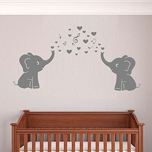 Two Elephant Family Wall Decal With Love Hearts Music Quote Art Baby Or Nursery  Wall Decor