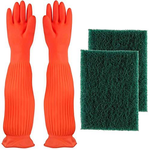 AroPaw Aquarium Cleaning Tools Set Includes Waterproof BPA Free Gloves, 2 Pack Algae Scraper Sponge Scrubber Pad…