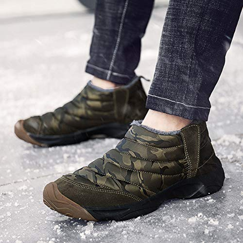 Mens Camouflage Slip-on Ankle Boots Fully Fur Lined Snow Boots Winter Warm Cotton Shoes by Weweya (Image #5)
