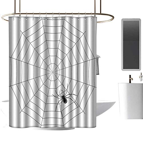 Mannwarehouse Spider Web Polyester Fabric Shower Curtain Toxic Poisonous Insect Thread Crawly Malicious Bug Halloween Character Design Mens Shower Curtain W55 -