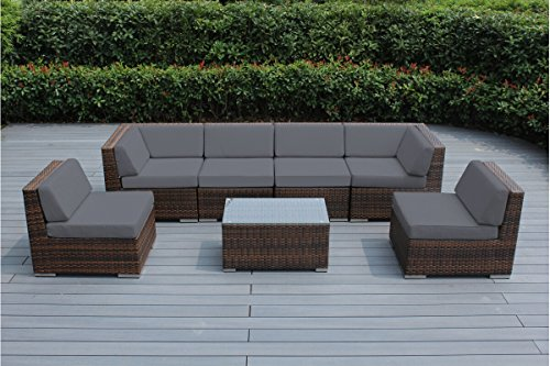 Ohana Outdoor Patio Sofa Sectional Wicker Furniture Mixed Brown 7pc Couch Set with Free Patio cover (Gray)