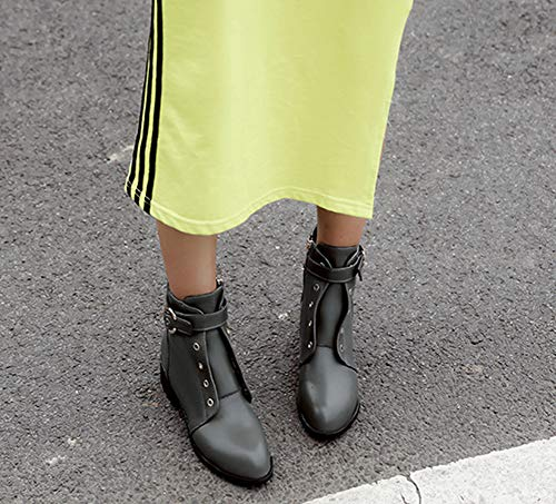 Mode Bouche Vert Femme 4cm Ronde Bottines Aisun Talon Low Boots Moyen 5wPC7qxX