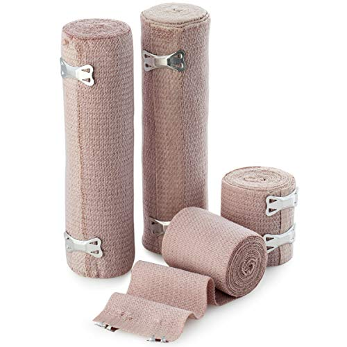 (BodyHealt High Elastic Bandage Wrap, Woven Elastic Compression Rolls with Fastening Clips, Set of 4 (Includes 2 4 inch Rolls and 2 3 inch Rolls) Stretches up to 8ft (Actual Length - 4ft 4in))