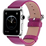Apple Watch Bands 38mm, Fullmosa Yan Series Lichi Calf Leather Strap Replacement Band with Stainless Metal Clasp for iWatch Series 0 1 2 and Version 2015 2016, Rosy