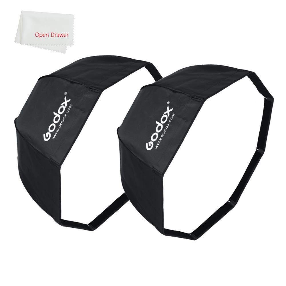 Godox 2 Pieces 95cm/37.5'' Umbrella Octagon Softbox with Carry Bag Compatible Studio Flash, Speedlite Portable Umbrella Softbox by Godox