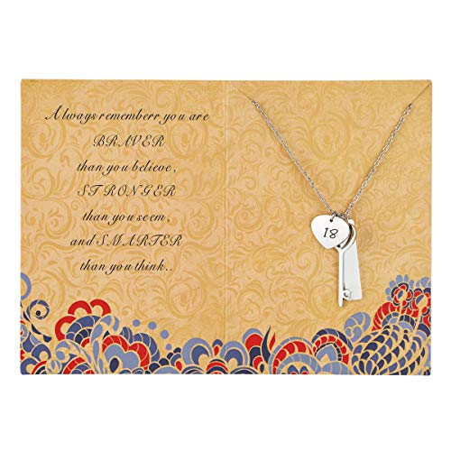 Sunique Happy 18th Birthday Necklace Bar Key Pendant Necklace for Women